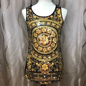 CATO Clear Sequin Embellished Floral Tank Top. M